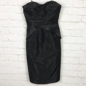 BR Monogram Silk Strapless Layered Cocktail Dress